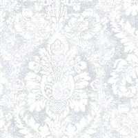 Valentine Damask Wallpaper in shades of Grey