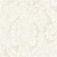 Valentine Damask Wallpaper in Taupe & Linen