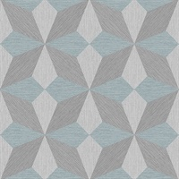 Valiant Aqua Faux Grasscloth Geometric Wallpaper