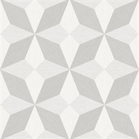 Valiant Off-White Faux Grasscloth Geometric Wallpaper