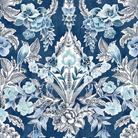 Vera Blue Floral Damask Wallpaper