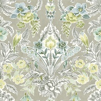Vera Light Green Floral Damask Wallpaper