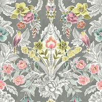 Vera Multicolor Floral Damask Wallpaper