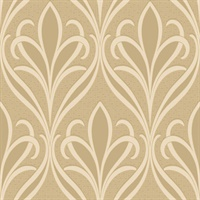 Vivian Khaki Nouveau Damask Wallpaper