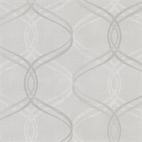 Waters Light Grey Ogee Wallpaper