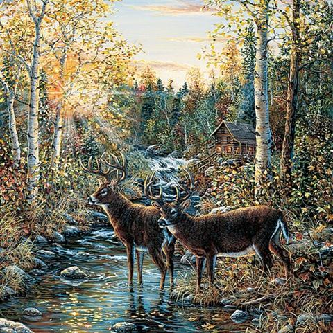 145 72024 northwoods lodge mural book by brewster for Deer landscape wall mural