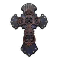 Wood Cross with Metal Inset
