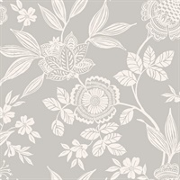 Wood Cut Jacobean Wallpaper