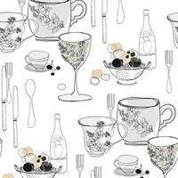 Modern Graphic Tableware Toile