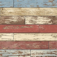 Levi Multicolor Scrap Wood Wallpaper