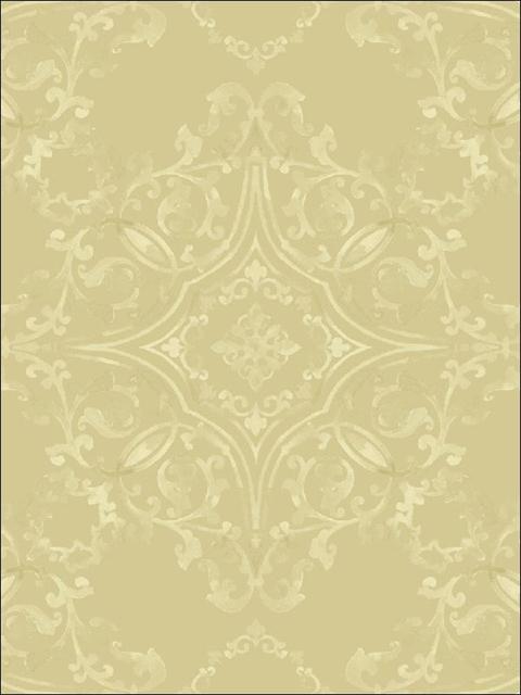 FY42605 Yellow Glittered Damask Wallpaper