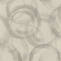 Yorick Taupe Distressed Circle Wallpaper