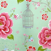 Yuma Light Green Birds in Paradise Wallpaper